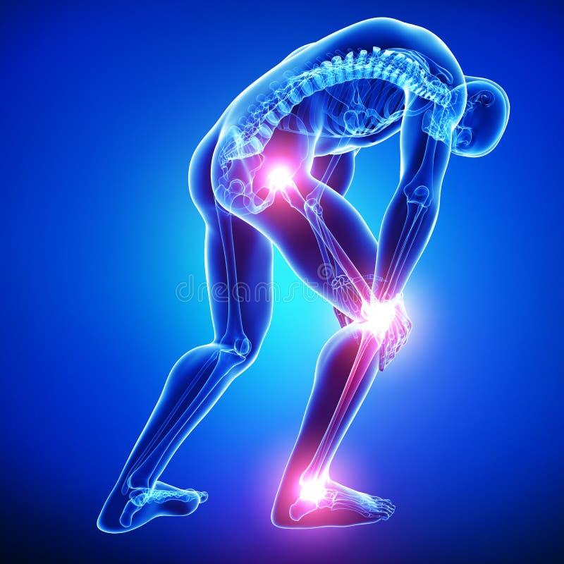 Douleur de joints masculine dans le bleu illustration libre de droits