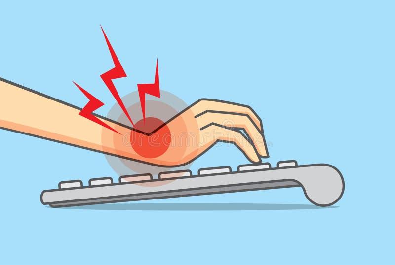 Douleur de main de clavier d'utilisation illustration stock