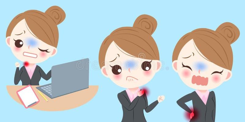 Douleur de sensation de femme d'affaires illustration de vecteur