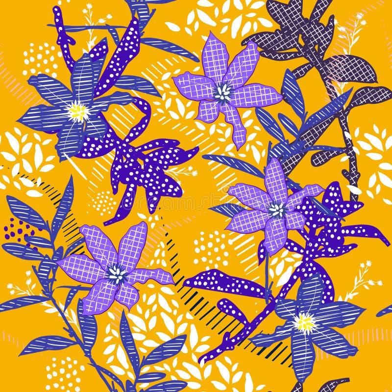 Douleur disponible de modèle d'été de vecteur de fleur bleue sans couture de jardin illustration libre de droits