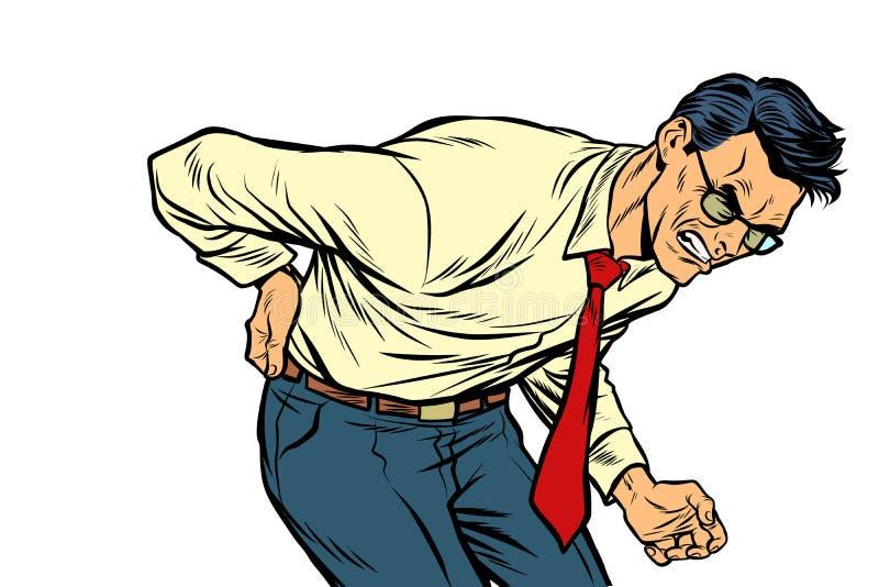Douleur lombo-sacrée de mal de dos santé et médecine d'homme illustration libre de droits