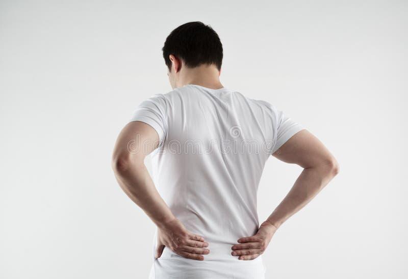 Douleur masculine d'échine image stock