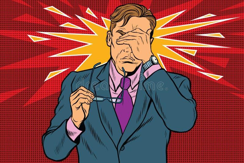 Douleur oculaire, fatigue et vision pauvre illustration de vecteur