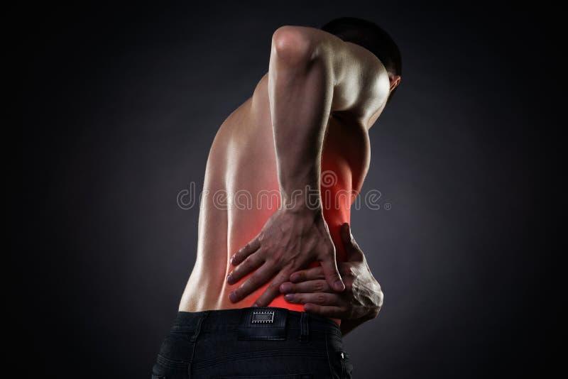 Douleurs de dos, inflammation de rein, mal dans le corps du ` s de l'homme photographie stock libre de droits