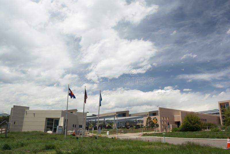 DOURADO, COLORADO EUA - 26 de maio de 2019: O laboratório nacional da energia renovável é um departamento dos E.U. da facilidade  foto de stock