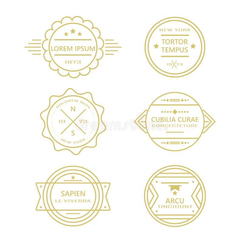 Dourado como a linha coleção retro dos crachás do círculo e das etiquetas do vintage no branco ilustração royalty free