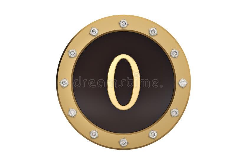 Dourado e diamante quadro com número 0 no fundo branco 3D mim ilustração do vetor