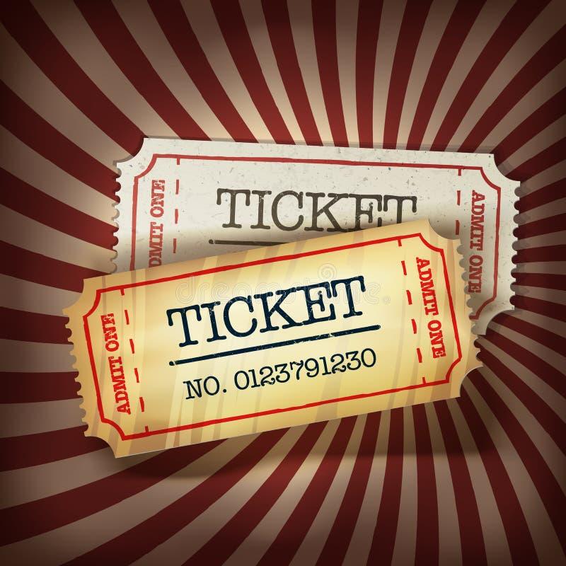 Dourado e regular tickets a ilustração do conceito ilustração do vetor