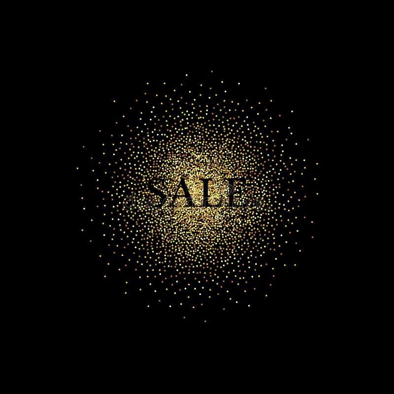 Dourado espirra no fundo preto, texto para o cartão, vip do ouro, exclusivo, certificado, presente, luxo, privilégio, loja ilustração stock