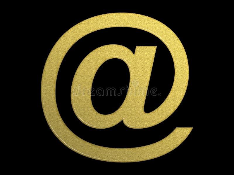 Dourado @ (símbolo do email) ilustração do vetor