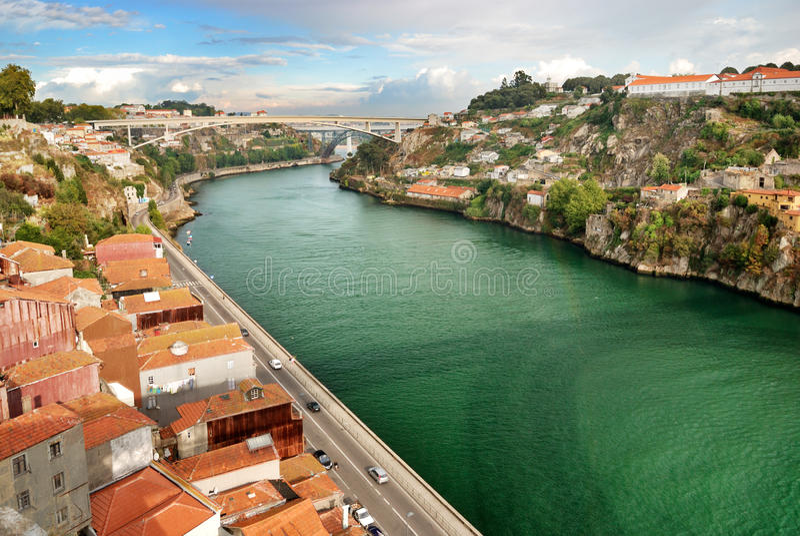 douro全景河 库存图片