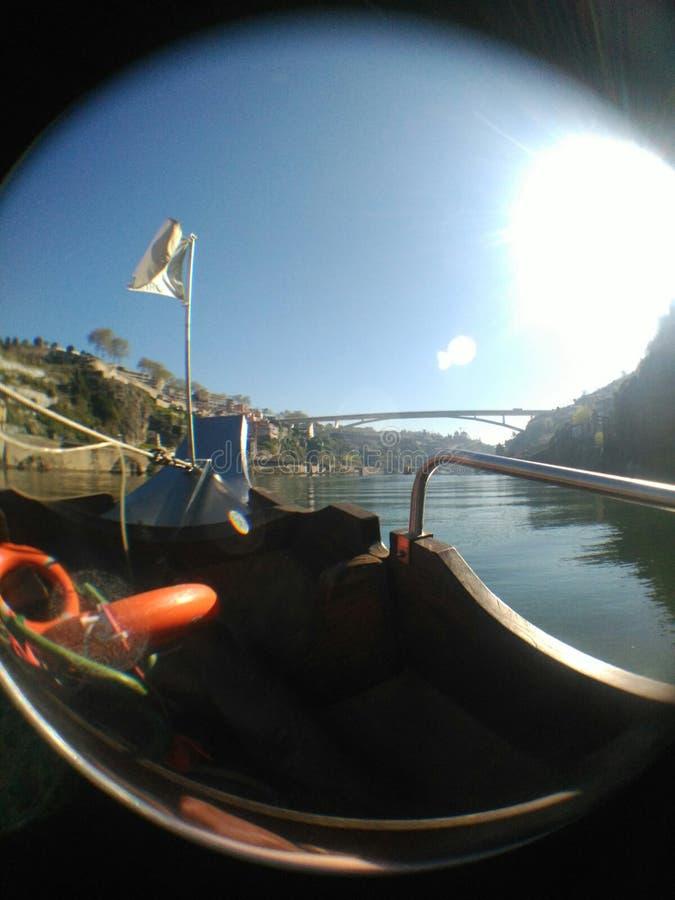 Douro flod med en fisheyesikt royaltyfri bild