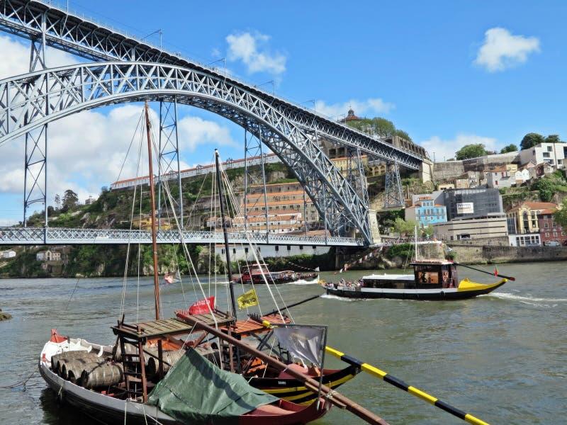 Douro River. Architectural Metal Arch D. Luis I Bridge Spans Douro River between Porto and Vila Nova de Gaia, Portugal royalty free stock photo