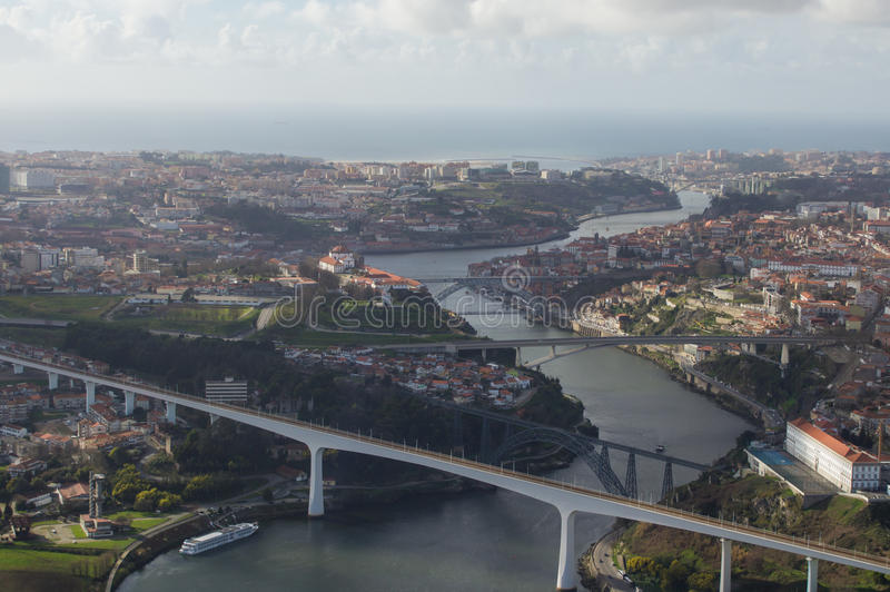 Douro river in porto. Aerial view of Poro, five bridges and the mouth of the river douro royalty free stock photo