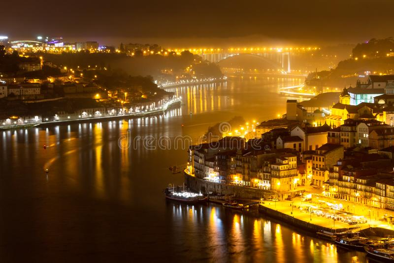 Douro River in Porto at Night. Scenic view from Porto at Night near the Douro River stock image