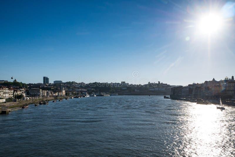 Douro River in Porto, Portugal, Porto on right and Vila Nova de Gaia on left royalty free stock photography