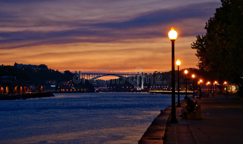 Douro River view at night in Porto stock images