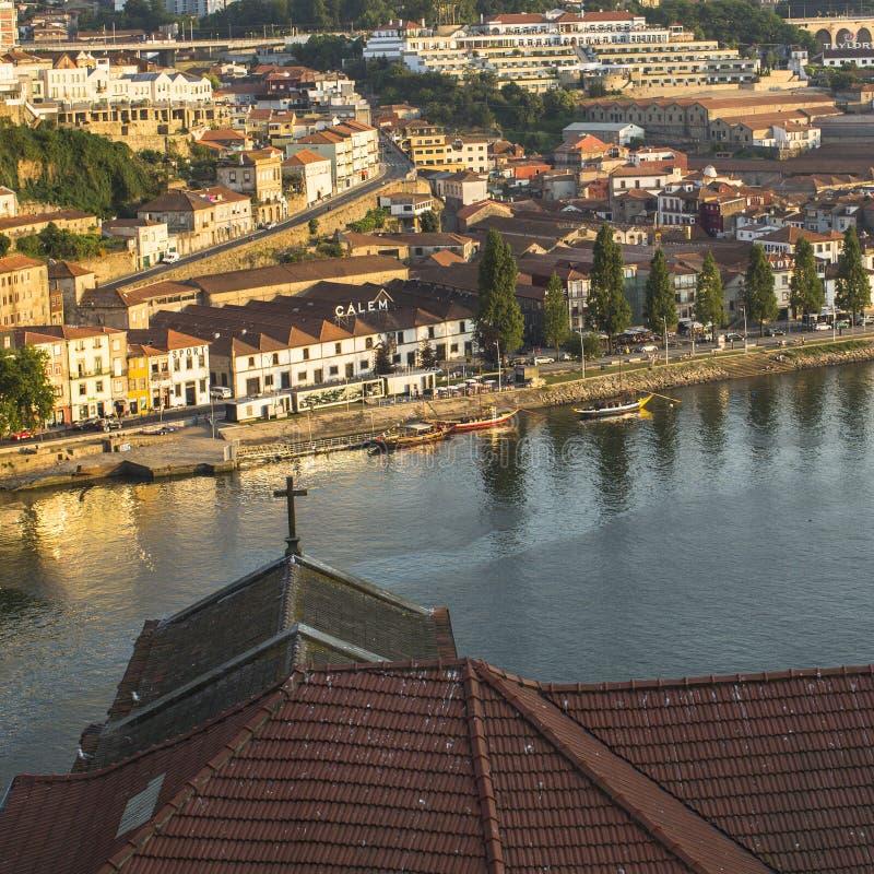 Douro rzeka, odgórny widok strona Vila Nova De Gaia zdjęcia stock