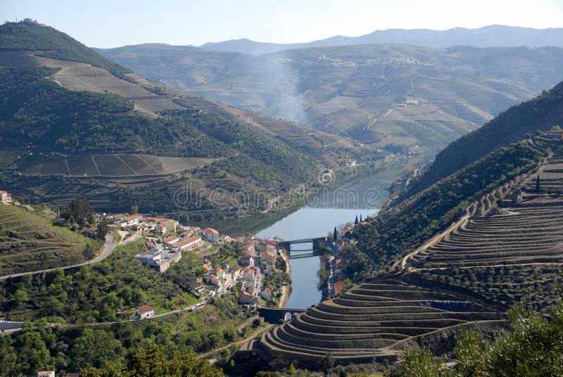 Douro Valley - mail Vineyard region in Portugal. Town Pinhao. Portugal's port wine vineyards. Point of interest in Portugal stock image