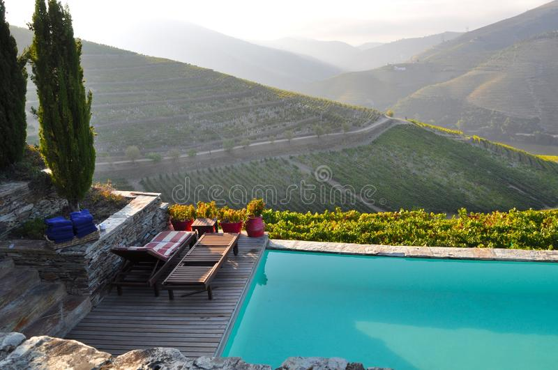 Douro valley winelands pool Portugal. Douro valley is a world heritage site and has the worlds most famous terraced vineyards producing portwine luxury royalty free stock photography