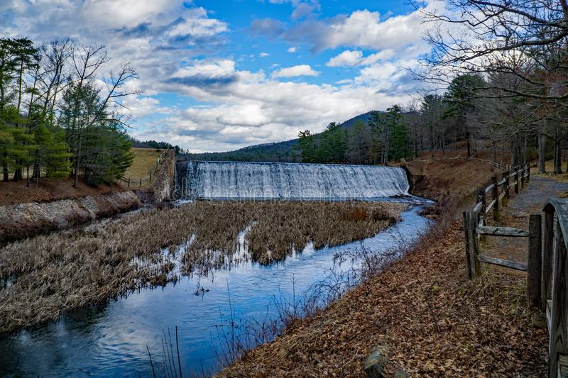 Douthat Lake Upper Dam and Spillway stock photos
