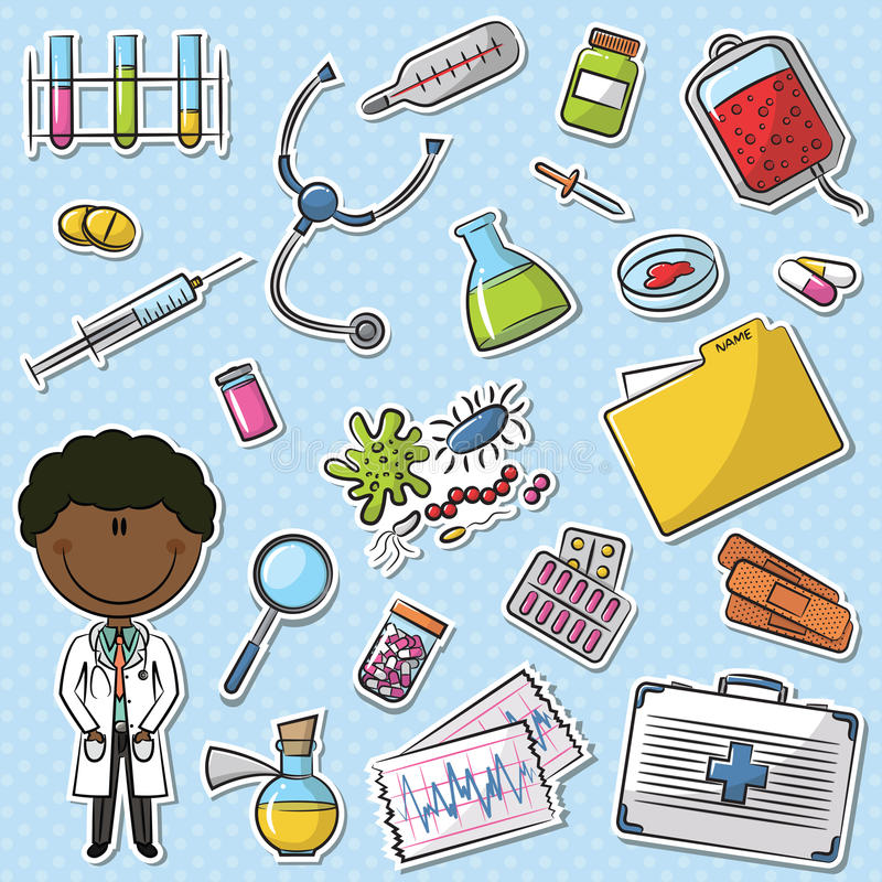 Doutor afro-americano With Tools ilustração royalty free