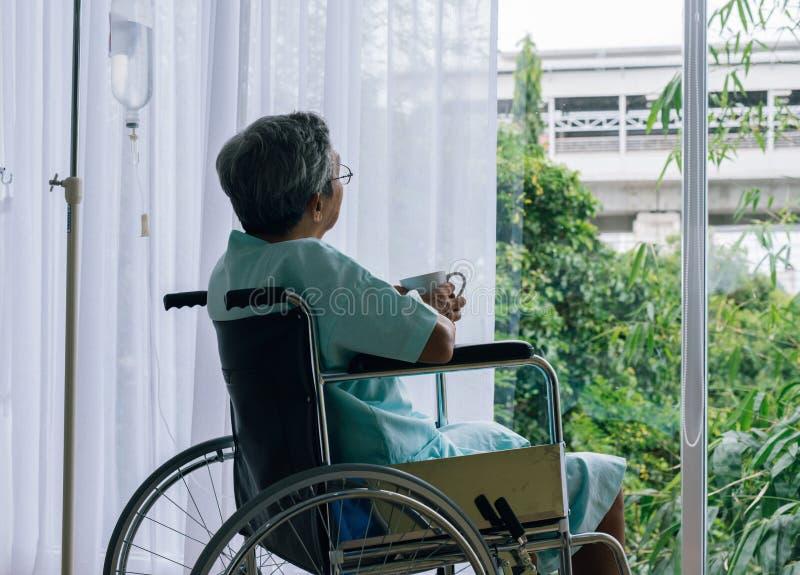 Doutor asiático bonito que toma do paciente superior na cadeira de rodas imagens de stock