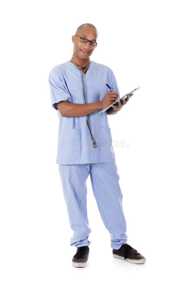 Doutor bem sucedido novo do homem do americano africano imagem de stock
