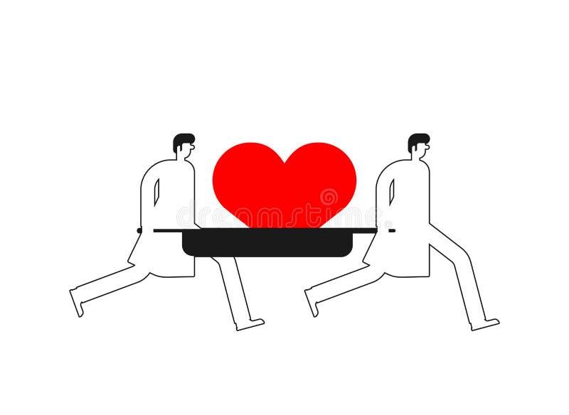 Doutor carregue coração no estiçador ilustração vetorial ilustração do vetor