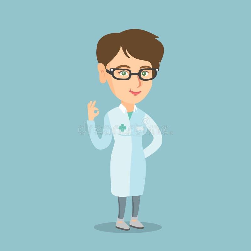 Doutor caucasiano novo que mostra o sinal aprovado ilustração do vetor