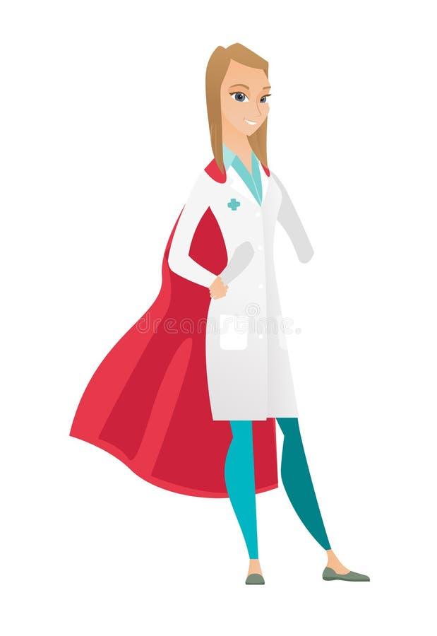 Doutor caucasiano que veste um casaco vermelho do super-herói ilustração stock