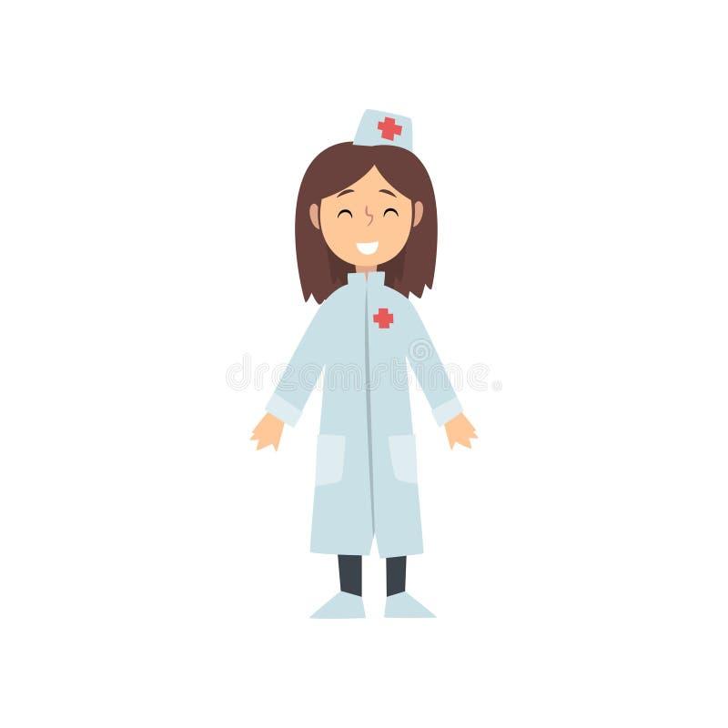 Doutor Character no revestimento branco, criança da menina que sonha da ilustração futura do vetor da profissão ilustração stock