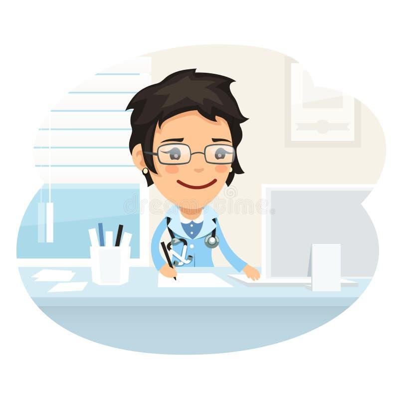 Doutor Character Sitting da mulher na mesa ilustração stock