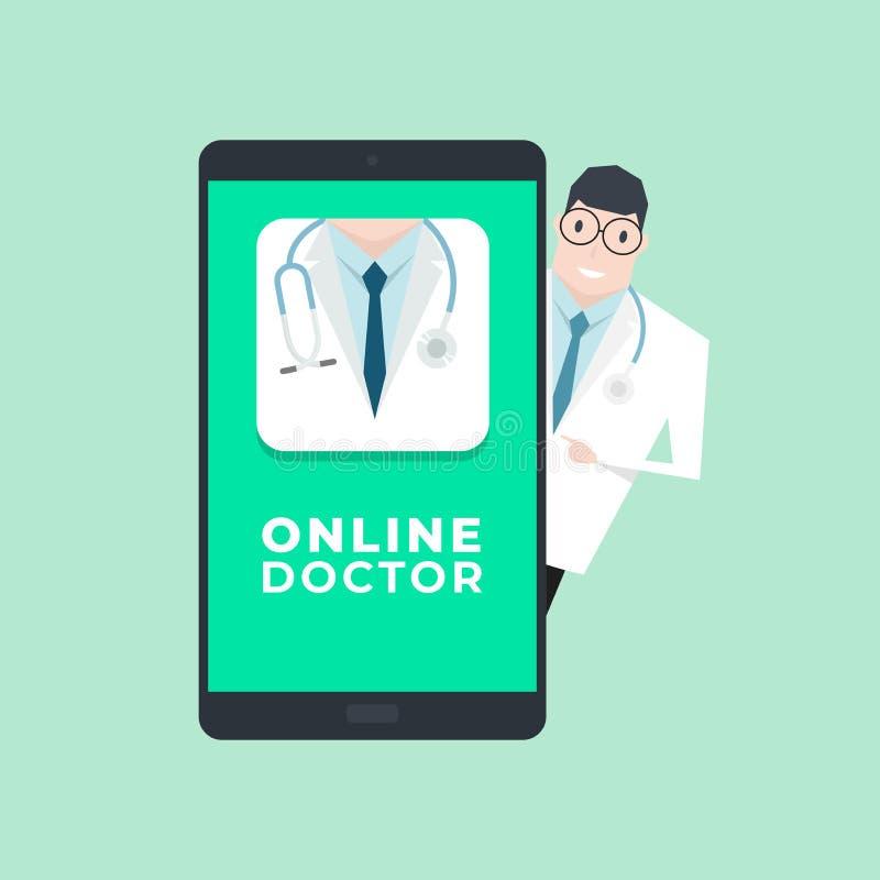 Doutor com aplicação móvel Conceito em linha do doutor ilustração stock