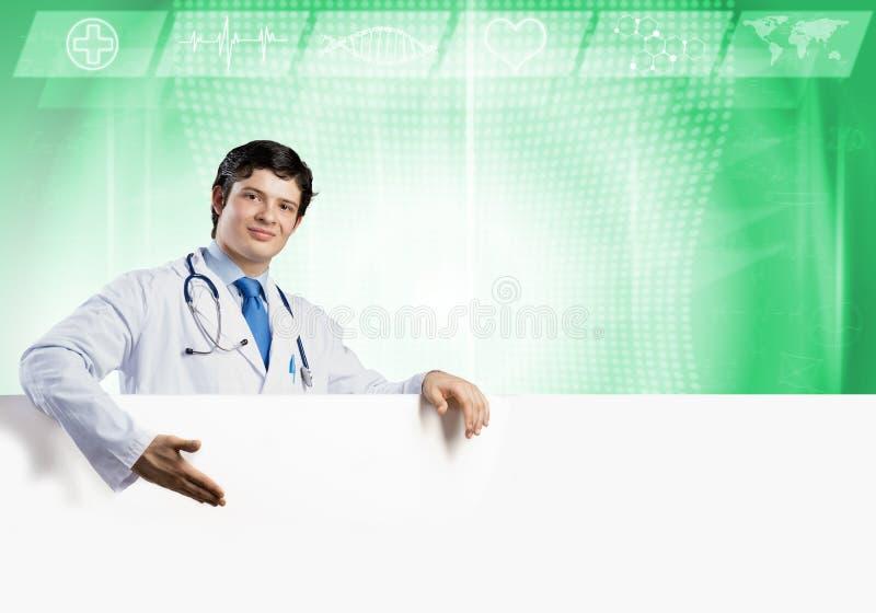 Doutor com bandeira fotografia de stock