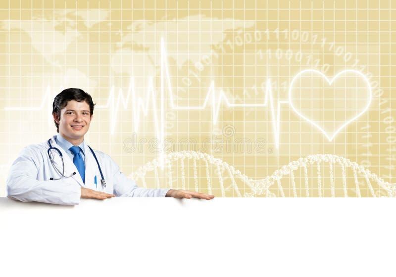 Doutor com bandeira imagem de stock royalty free