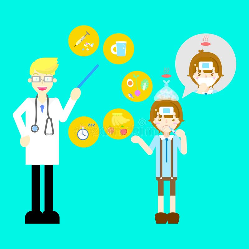 Doutor com o menino bonito frio da gripe da febre da doença que tosse os cuidados médicos doentes do symtom da doença infographic ilustração stock