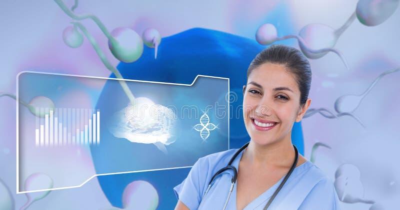 Doutor com o ovário da reprodução do esperma para o planeamento familiar ilustração stock