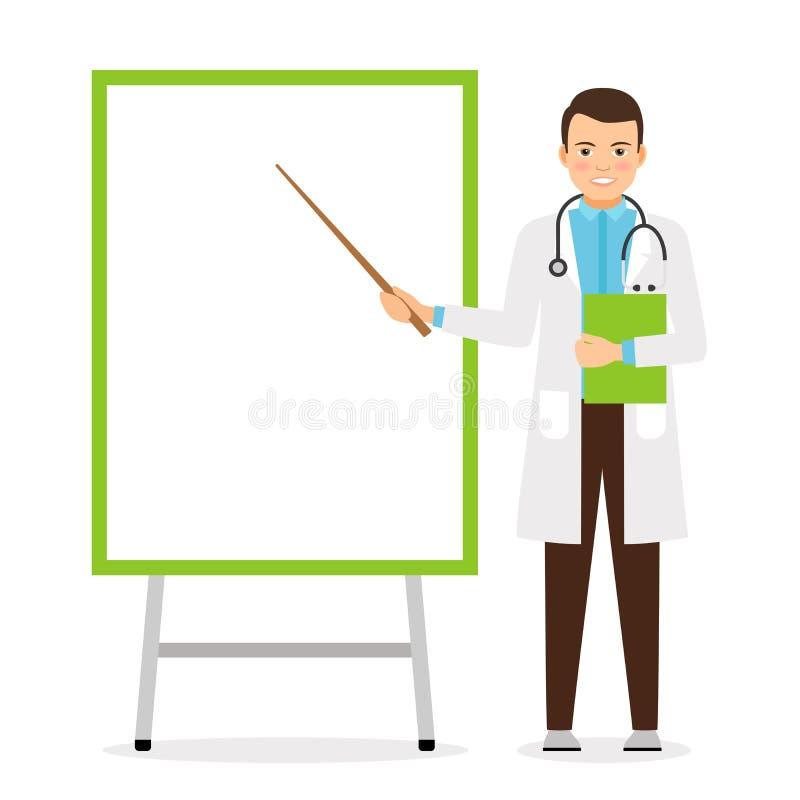 Doutor com placa da carta de aleta ilustração royalty free