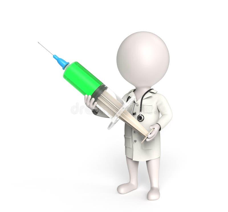 Doutor com seringa ilustração stock