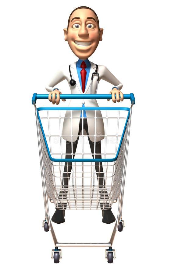 Doutor com um carro de compra ilustração stock