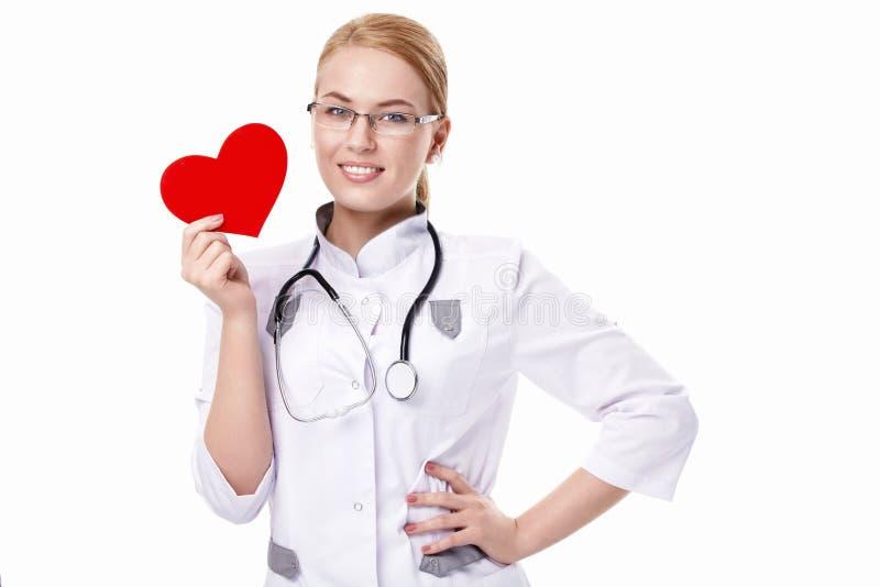 Doutor com um coração fotografia de stock