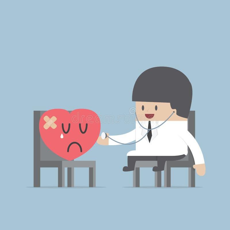 Doutor com um coração ferido ilustração do vetor