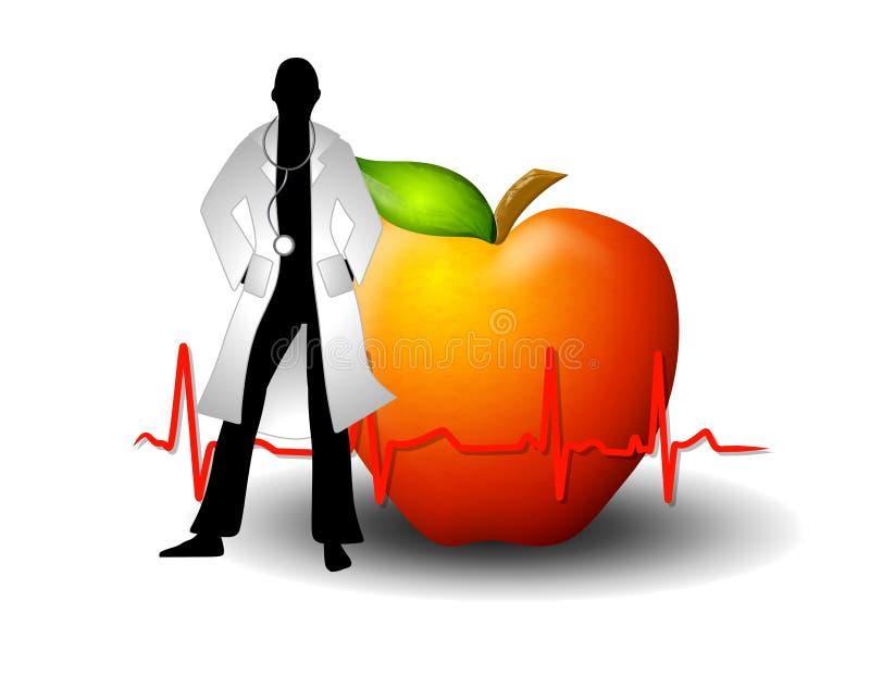 Doutor Com Vermelho Apple e EKG ilustração royalty free