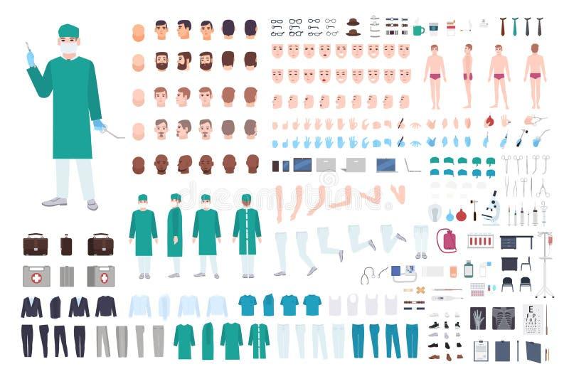 Doutor, construtor do cirurgião ou do paramédico ou jogo de DIY Coleção das partes do corpo masculinas do médico, expressões faci ilustração do vetor