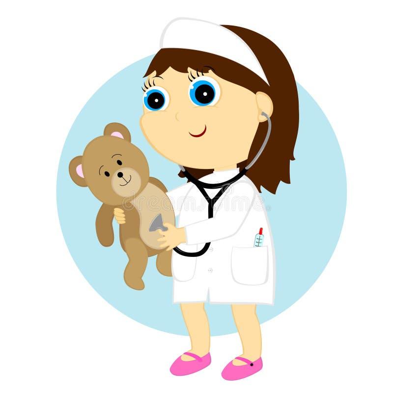 Doutor da menina ilustração do vetor