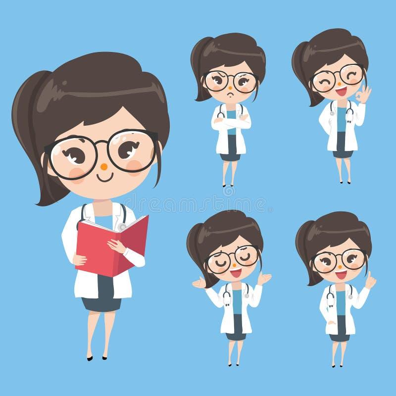 Doutor da mulher na ação e no humor no uniforme ilustração do vetor