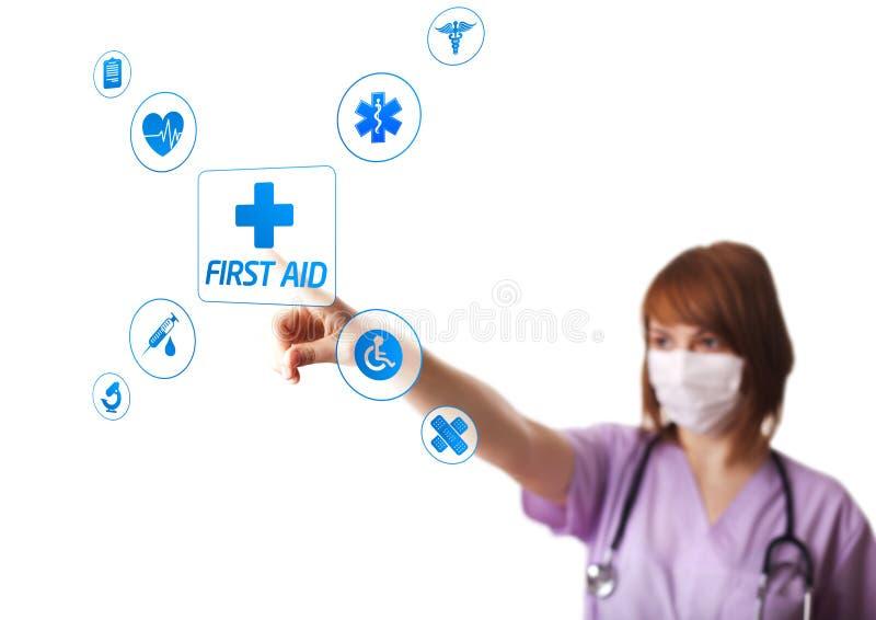 Download Doutor Da Mulher Que Pressiona O Botão Digital Ilustração Stock - Ilustração de primeiramente, ajuda: 29844926