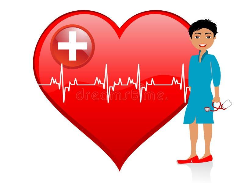 Doutor da senhora perto do coração ilustração stock