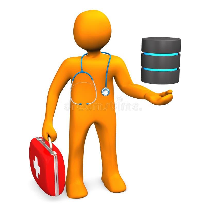 Doutor With Database ilustração do vetor